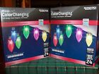 GEMMY LIGHTSHOW LED COLOR CHANGING 24 COUNT CHRISTMAS LIGHTS  LOT OF 2 BOXES NIB