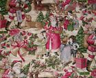 OLDE TYME SANTA victorian themed  fabric trees toys sled fq's 18 x 45'