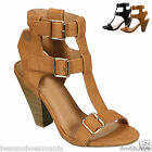 New Women Fashion Strappy T Strap Gladiator Cuhky Heel Dress Sandal Shoes