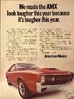 1970 AMC Red AMX Tougher Original OLD AD 5+ FREE SHIP CMY STORE 4MORE ADS TOO