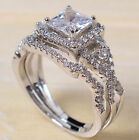 925 Silver White Topaz Princess Cut Halo Wedding Engagement Ring Set Size 6 12