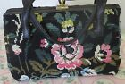 Needlepoint Purse/Handbag Black with Floral Design  NEW