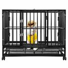 42 Black Commercial Quality Heavy Duty Pet Dog Cage Crate Kennel w Wheels