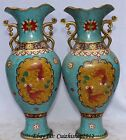 15' Folk Chinese Dynasty Bronze Gild Cloisonne Enamel Two Fish Bottle Vase Pair