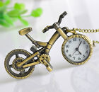 True Birds Antiqued Gold-Tone BIKE Bicycle Pendant Pocket WATCH Necklace w Chain