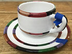 Circo Deruta Italy Cup Saucer Set Footed Stripes B Goldsmith Design Chips As Is