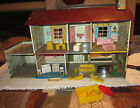 Vintage 1950s MARX Tin Litho Two Story WALT DISNEY Doll House with Furniture