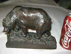 1922 HERZEL SCULPTOR ANTIQUE BRONZE CLAD GRIZZLY BEAR STATUE SCULPTURE BOOKEND