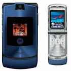 Motorola RAZR V3 Unlocked flip Mobile Phone New Condition Blue With Accessories