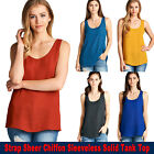 NEW Women Casual Strap Sheer Chiffon Sleeveless Solid Tank Top Size S to 3XL