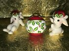 FITZ & FLOYD CHRISTmas Bunny Blooms rabbits bulb figurines tumblers set of 3 GUC