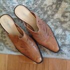 Coldwater Creek Tan  Western Style Leather Mules 2.75