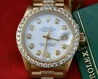 ROLEX LADIES 6917 PRESIDENT 18K YELLOW GOLD DIAMOND WHITE PEARL DIAL BEZEL BAND