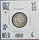 1942 C Newfoundland 10 Cent Silver Coin FREE UNINSURED SHIPPING