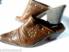 MAURICES Western Clogs womens 6.5 Brown faux leather Square toe slide Studded
