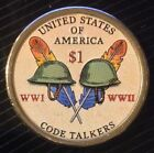 COLORIZED 2016 NATIVE AMERICAN CODE TALKERS DOLLAR REVERSE ONLY