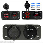 Car Motor Boat Charger Dual USB Adapter Digital Display Voltmeter Panel Switch
