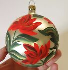 LARGE VINTAGE BLOWN GLASS CHRISTMAS TREE ORNAMENT ITALY HANDPAINTED FLOWERS ROSE