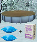 28 Round Above Ground Winter Pool Cover + 4x4 Air Pillows + Winterizing Kit