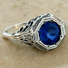 2 CT LAB SAPPHIRE ANTIQUE ART DECO STYLE 925 STERLING SILVER RING SIZE 975 72
