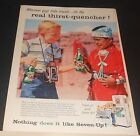 1957 7-UP travel boy gives bottle to Native Indian boy Ad OR Statue of Liberty