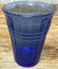 Hazel Atlas Cobalt Blue Moderntone 9 oz Flat Water Tumbler Glass 3067 Depression