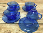 Hazel Atlas Cobalt Blue Moderntone 4 Cup Saucer Sets Glass 3067 Depression MCM