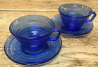 Hazel Atlas Cobalt Blue Moderntone 2 Cup Saucer Sets Glass 3067 Depression MCM