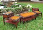 VTG Mid-Century Mahogany Leather Top Glass End/Coffee Side Occasional Table Set