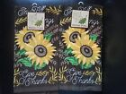 Set Of 2 Fall Sunflower Harvest Autumn Kitchen or Bathroom Dish or Hand Towels