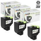 LD Remanufactured Lexmark 80C1SK0 / 801SK Set of 3 Black Toner Cartridges