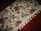 WAVERLY FELICITE JACOBEAN CRIMSON RED GREEN GOLD FLORAL FRINGED VALANCE 52 X 16