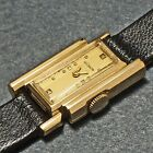 Stunning Rare LeCoultre Lady's Solid 14K Yellow Gold Assymetrical Wristwatch