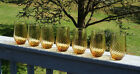 7 VINTAGE LIBBEY GOLD COLORED SWRIL DESIGN GLASSES 14 OZ. EACH