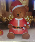 FUZZY PLUSH SITTING TEDDY BEAR IN SANTA SUIT CANDY CANE Airblown Inflatable