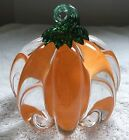 Anchor Bend Glassworks Hand Made Glass Pumpkin Sculpture Paperweight 4 in Dia
