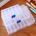 Plastic 15 10 24 Slots Adjustable Jewelry Storage Box Case Craft Organizer Bead