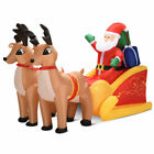 7 Ft Waterproof Inflatable Double Deer w Sled Christmas Decoration Outdoor Art