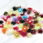 30mm DIY 10 50 100PCS Satin Ribbon Flower with pearl Wedding Appliques Crafts