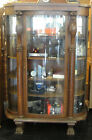 Antique 1850's Bow Front Hand Carved Large China Curio Display Cabinet