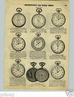 1928 PAPER AD Chronograph Pocket Watch Guinand Gallet Timer Split Second