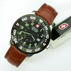 NEW $195 GENTS WENGER 45 MM BLACK DIAL 100M WR SWISS MILITARY WATCH #72942