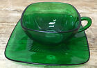 Forest Green Glass Charm Anchor Hocking 1950's 1 Cup Saucer Set Square MCM MOD