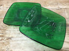 Fire King Forest Green Glass Charm 2 Saucers Only Anchor Hocking Square MCM 1950
