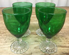 4 Juice Wine Forest Green Glasses Clear Bubble Foot Stem Anchor Hocking 769 1950
