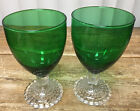 2 Water Goblets Forest Green Glass Clear Bubble Foot Stem Anchor Hocking 769
