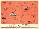 1945 Antique PACIFIC ISLANDS Map Pictorial POLYNESIA Picture Map FIJI 3433