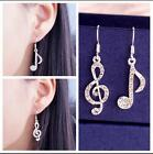 Womens 925 Silver Plated Treble Clef Musical Note Dangle Earrings Cubic Zircon
