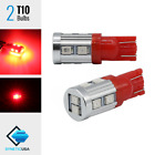 2x T10 912LL 920LL 168 Wedge Red Center 3rd Brake Stop Interior Tail Light Bulbs
