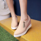 Womens Fashion Hidden Wedge Heel Casual Sneakers Slip On Walking Shoes Size